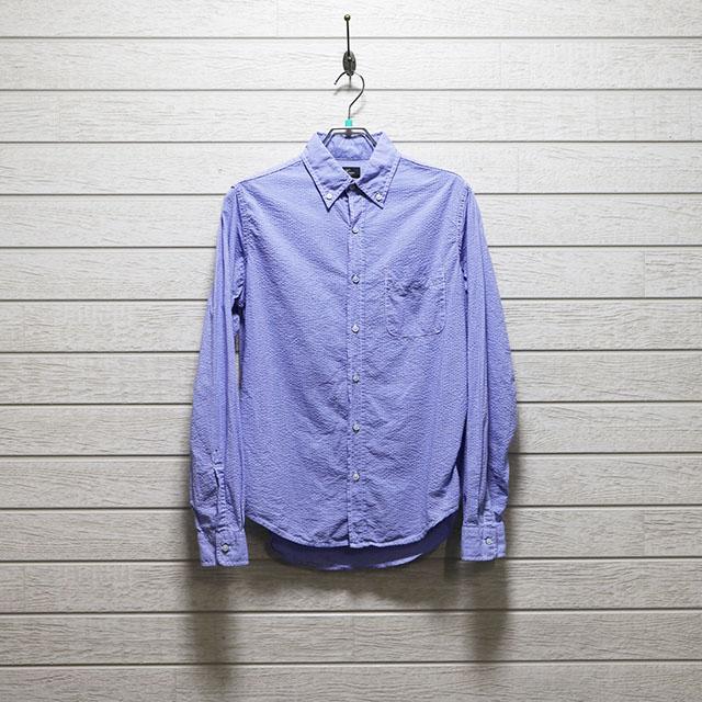 ハリス(HARRISS)シアサッカーボタンダウンシャツ Mサイズ コンディションB ブルー 価格2,200(税込)