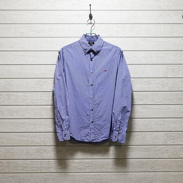 ハリス(HARRISS)ギンガムチェックボタンダウンシャツ Mサイズ コンディションB ブルー 価格2,200(税込)