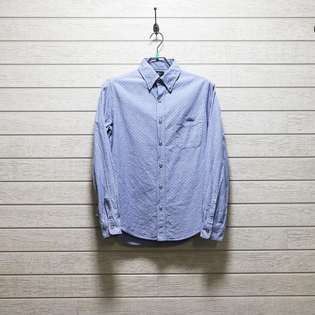 ハリス(HARRISS)オックスフォードドットプリントボタンダウンシャツ Mサイズ コンディションB ブルー 価格2,200(税込)