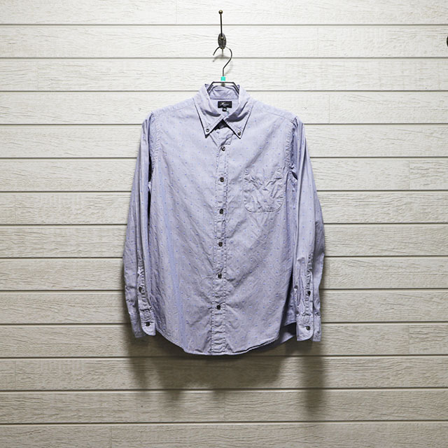 ハリス(HARRISS)ストライプジャガードドビー柄ボタンダウンシャツ Mサイズ コンディションB ブルー 価格2,200(税込)