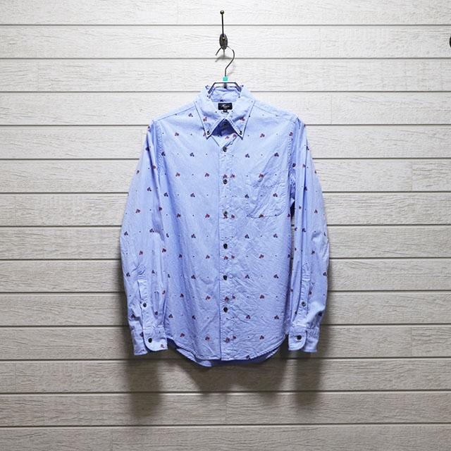 ハリス(HARRISS)ジャガードドビーモチーフ柄ボタンダウンシャツ Mサイズ コンディションB ブルー 価格2,200(税込)