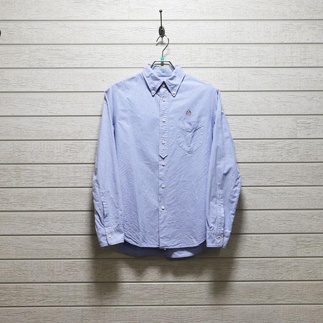 エミスフェール(HEMISPHERES)オックスフォードボタンダウンシャツ Mサイズ コンディションB ブルー 価格2,200(税込)