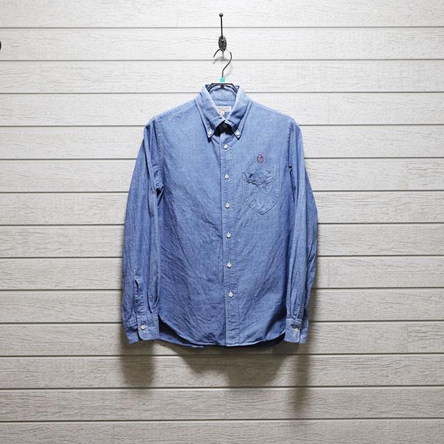 エミスフェール(HEMISPHERES)ダンガリーボタンダウンシャツ Mサイズ コンディションB ブルー 価格2,200(税込)
