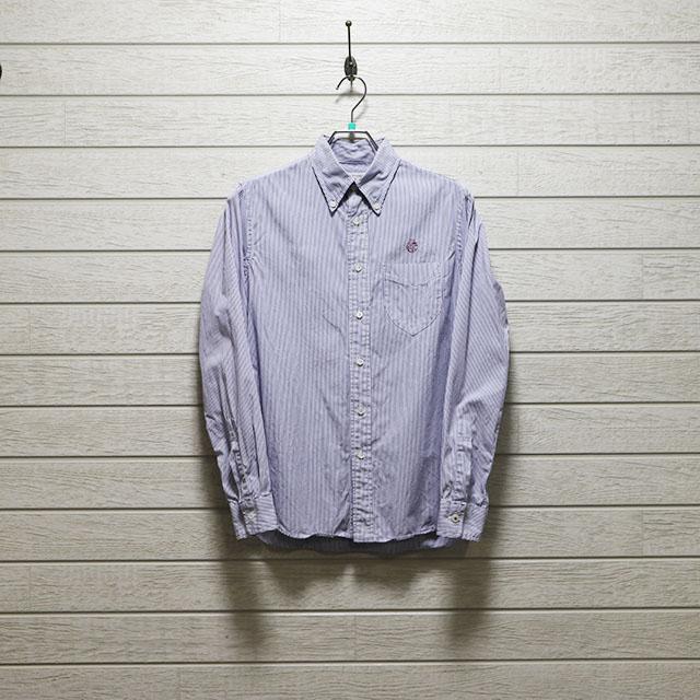 エミスフェール(HEMISPHERES)ストライプボタンダウンシャツ Mサイズ コンディションB ブルー×ホワイト 価格2,200(税込)