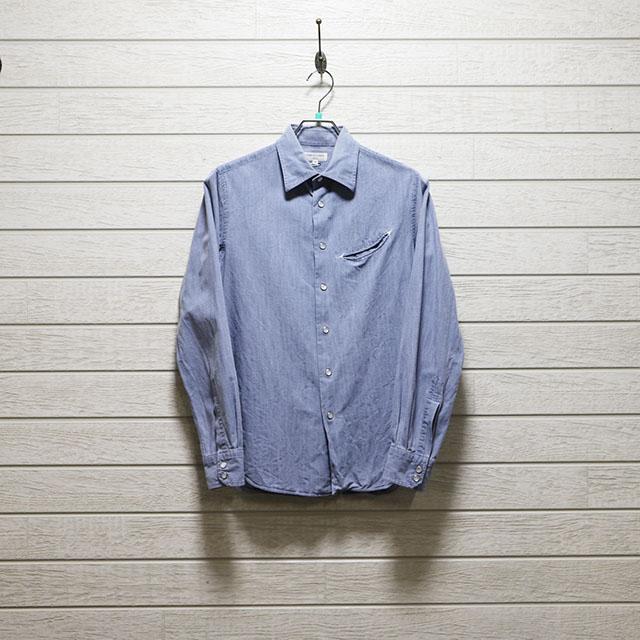 エミスフェール(HEMISPHERES)ダンガリースナップボタンシャツ Mサイズ コンディションB ブルー 価格2,200(税込)