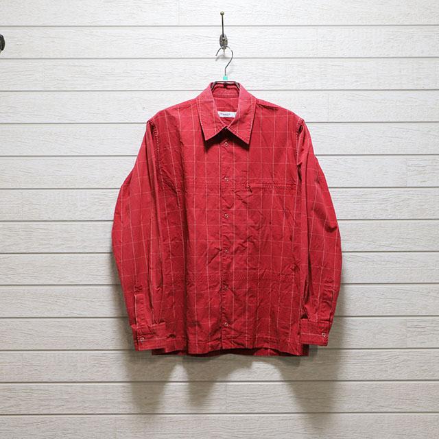 ボール(BALL)ヴィンテージダンプ格子柄スナップボタンワークシャツ Mサイズ コンディションB レッド 価格2,200(税込)