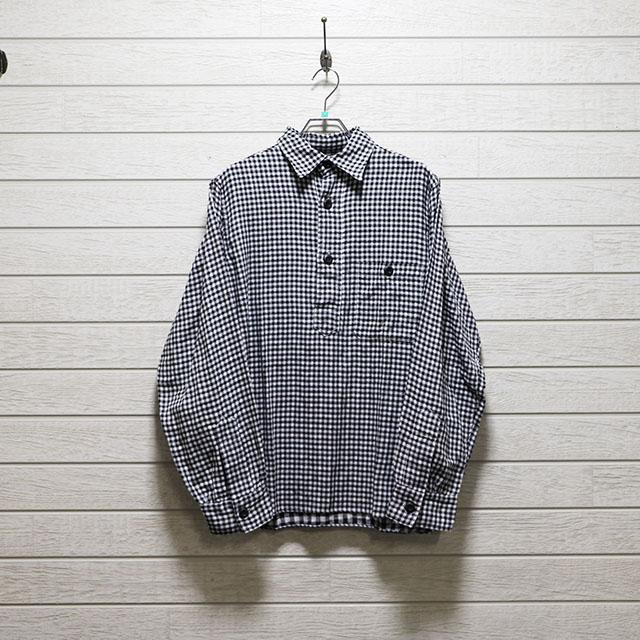 クールテンポ(226 ECHO COOLTEMPO) ダブルガーゼギンガムチェックプルオーバーシャツ Mサイズ コンディションB ブラック 価格2,200(税込)