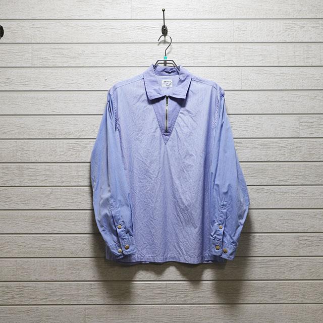 デザート(dezert) ストライプ切り替えジッププルオーバーシャツ Sサイズ コンディションB ブルー 価格2,200(税込)売切れ
