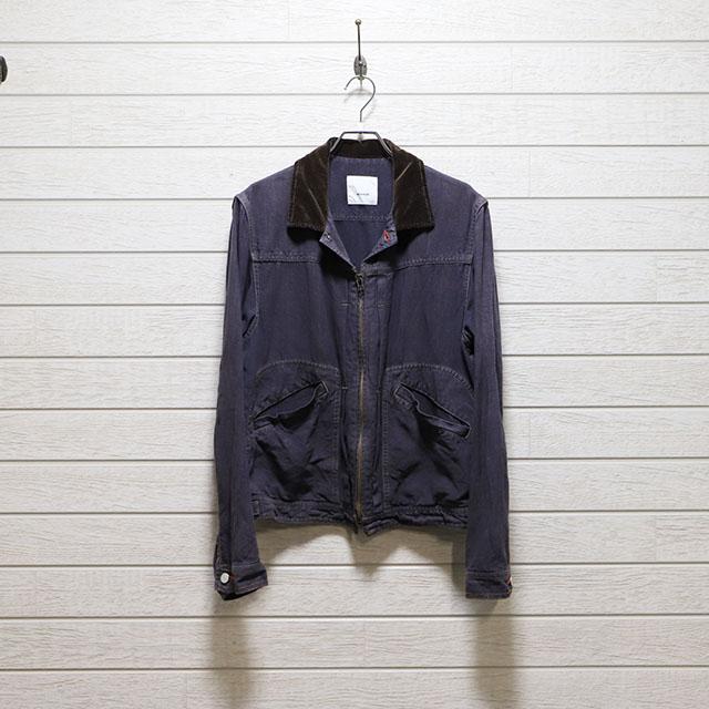 デザート dezert 麻素材フロントジップショートジャケット Mサイズ コンディションB インディゴブルー 価格4,400(税込)