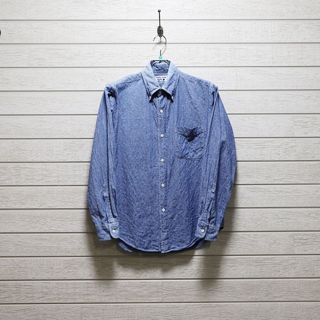 ハリスローファーズ(HARRRISS LOAFERS)ダンガリーキルチング風ボタンダウンシャツ Mサイズ コンディションB ブルー 価格2,200(税込)