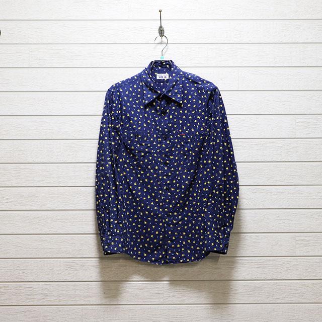 ハリスローファーズ(HARRRISS LOAFERS)花柄プリントボタンダウンシャツ Mサイズ コンディションB ネイビー 価格2,200(税込)