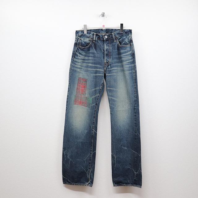 オムニゴッド(OMNIGOD)セルヴィッチデニム 5Pストレートジーンズ 33インチサイズ コンディションB ブルー 価格3,300(税込)