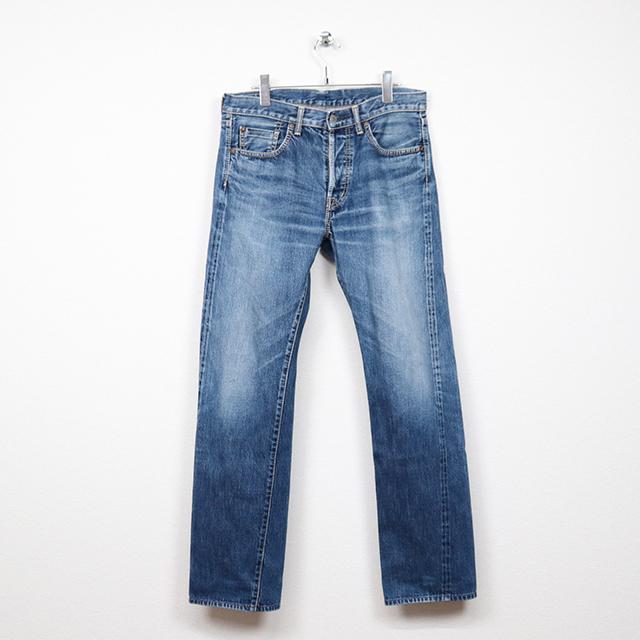 オムニゴッド(OMNIGOD)セルヴィッチデニム 5Pストレートジーンズ 32インチサイズ コンディションB ブルー 価格3,300(税込)売切れ