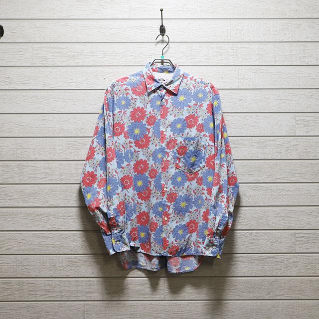 リプレイ(REPLAY) ヴィンテージ花柄プリントシャツ Mサイズ コンディションB サックスブルー 価格2,200(税込)売切れ