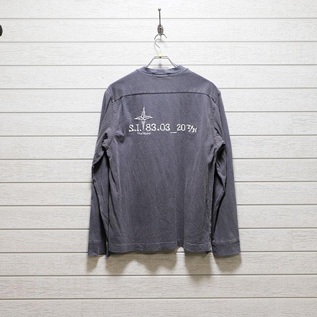 ストーンアイランドSTONE ISLAND バック刺繍カットソー Mサイズ コンディションB ミディアムグレー 古着店頭価格4,400円(税込)売切れ