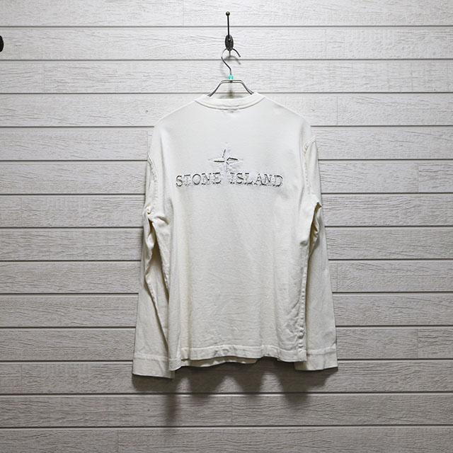 ストーンアイランドSTONE ISLAND バック刺繍カットソー Mサイズ コンディションB オフホワイト 古着店頭価格4,400円(税込)