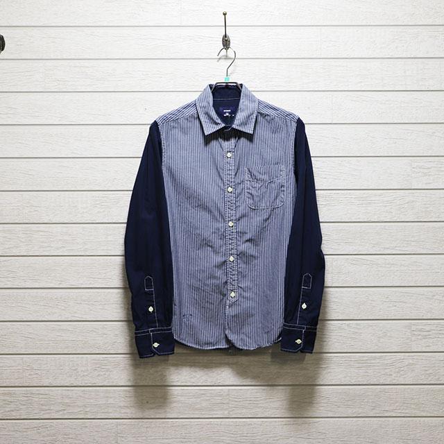 ナイテッドアローズ (iNCERTUS) ストライプ切り替えデザインシャツ Mサイズ コンディションB ネイビー 価格2,200(税込)