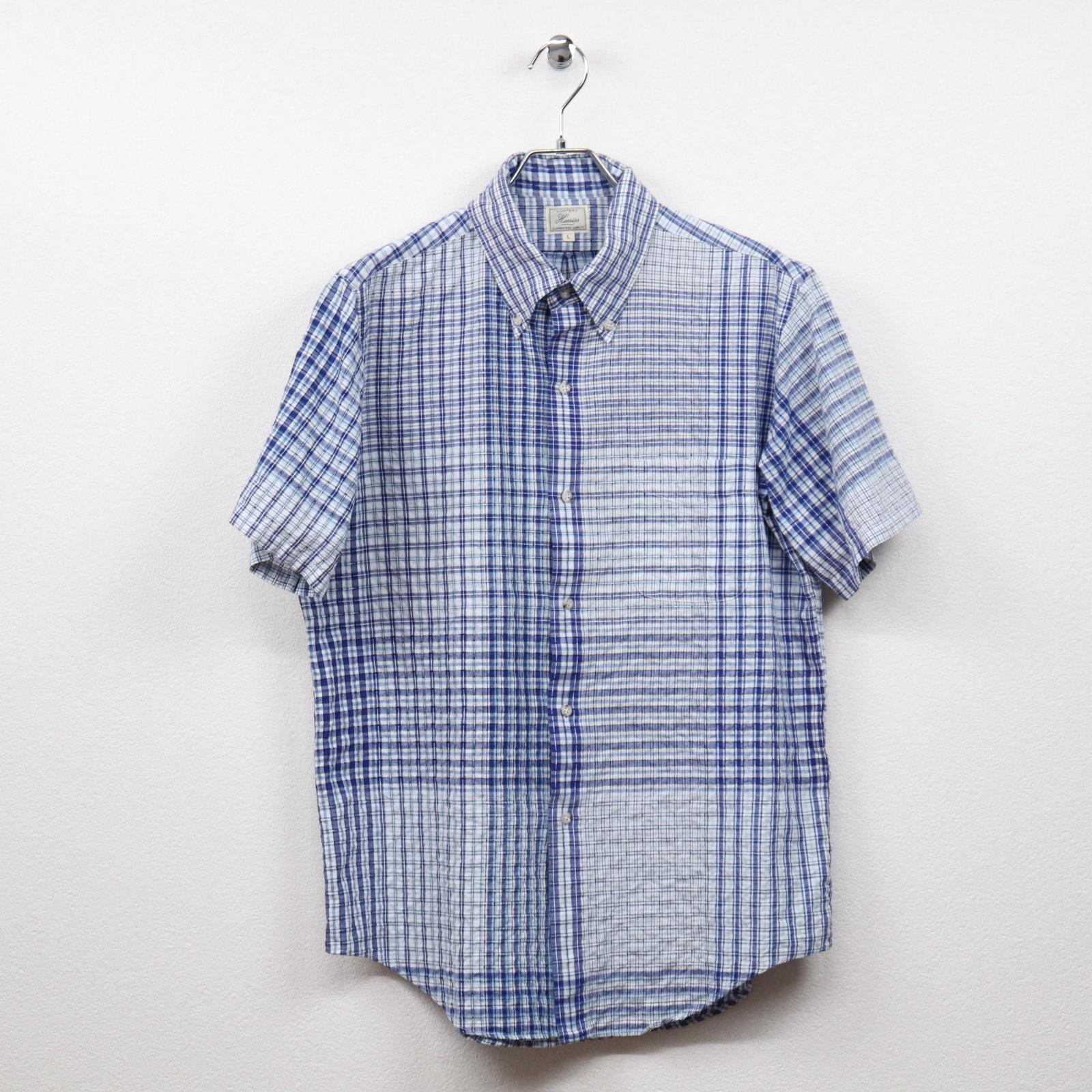 ハリス(HARRISS)チェック柄半袖ボタンダウンシャツ Mサイズ コンディションB ブルー系 価格1,980(税込)