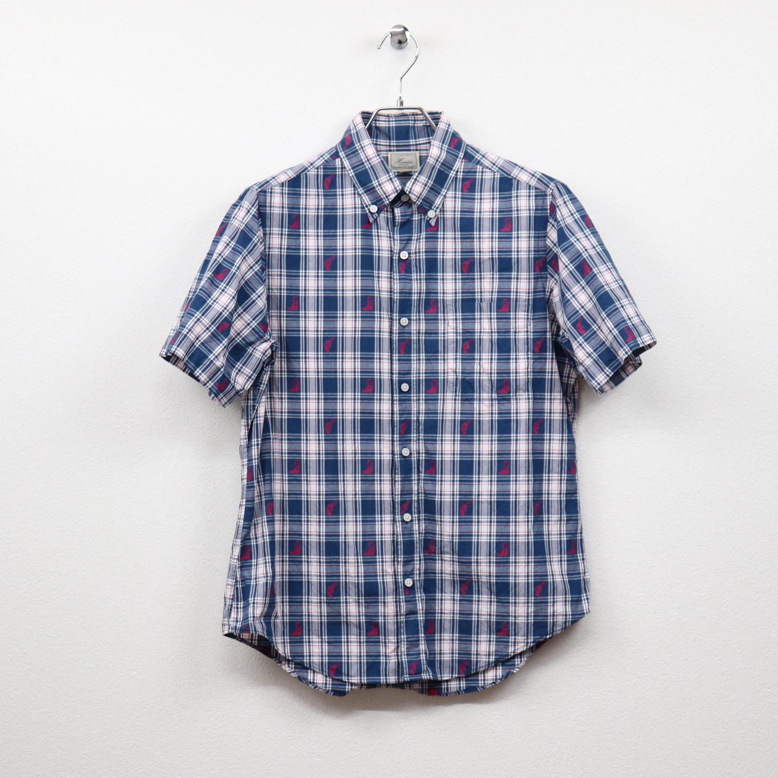ハリス(HARRISS)チェックジャガード柄半袖ボタンダウンシャツ Mサイズ コンディションB ブルー系 価格1,980(税込)