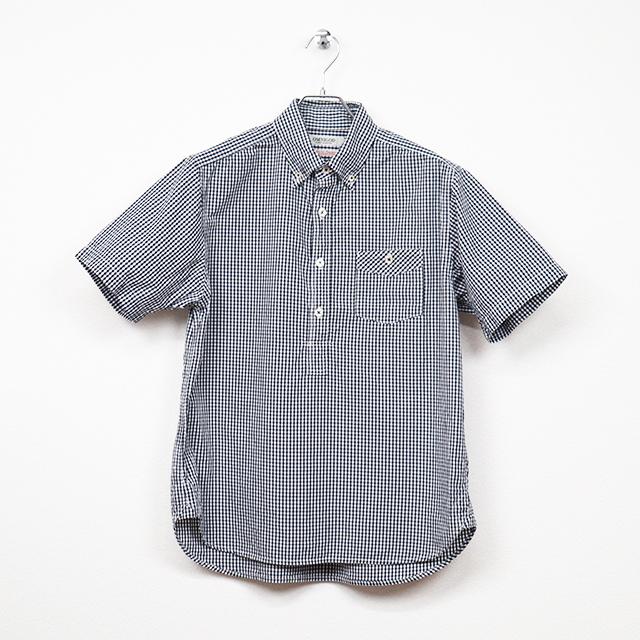 リネンキャンバス ギンガムチェックショートスリーブプルオーバーBDシャツ ネイビー OMNIGOD 40%OFF ¥18,700(税込)→¥11,220(税込)