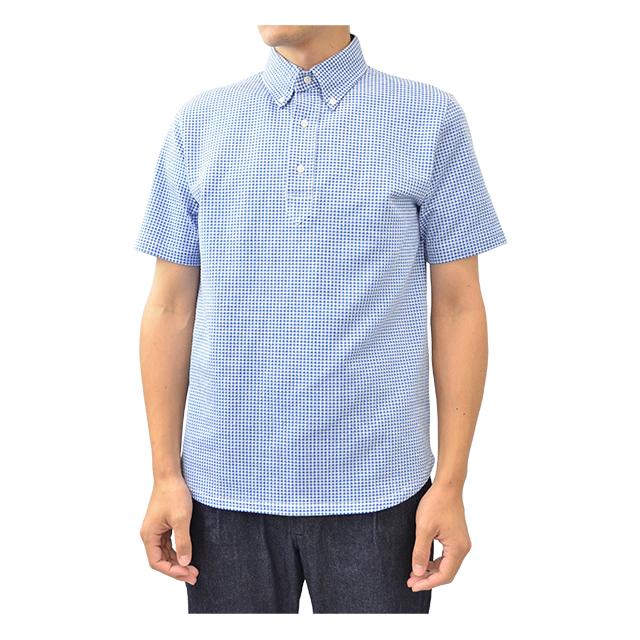 プルオーバー半袖ボタンダウンポロシャツ サックスブルー HARRISS 40%OFF ¥13,200(税込)→¥7,920(税込)