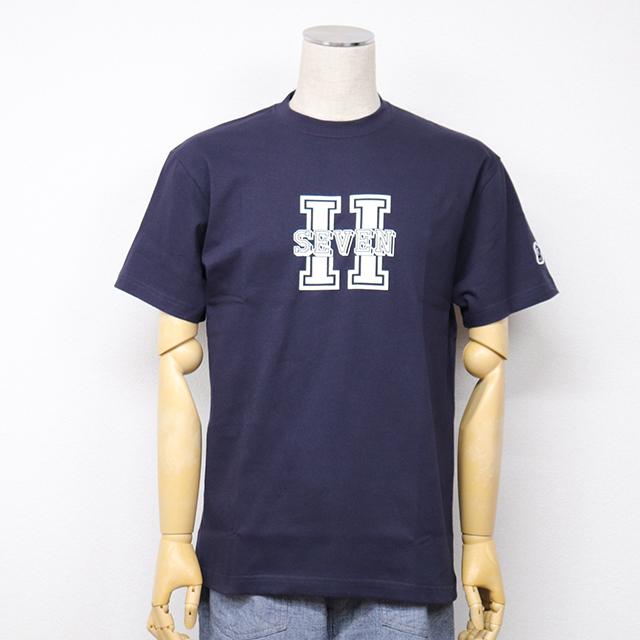 左袖口にH7ワッペン付きプリントTシャツ(H SEVEN) ネイビー HARRISS 40%OFF ¥6,600(税込)→¥3,960(税込)