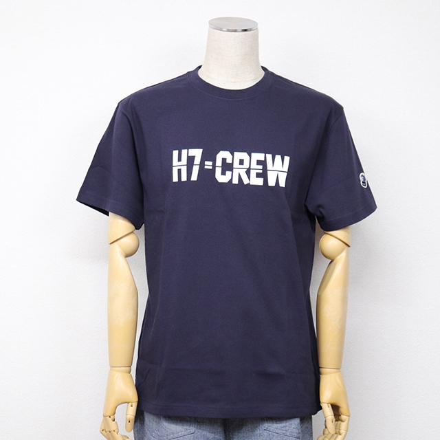 左袖口にH7ワッペン付きプリントTシャツ(H7-CREW) ネイビー HARRISS 40%OFF ¥6,600(税込)→¥3,960(税込)