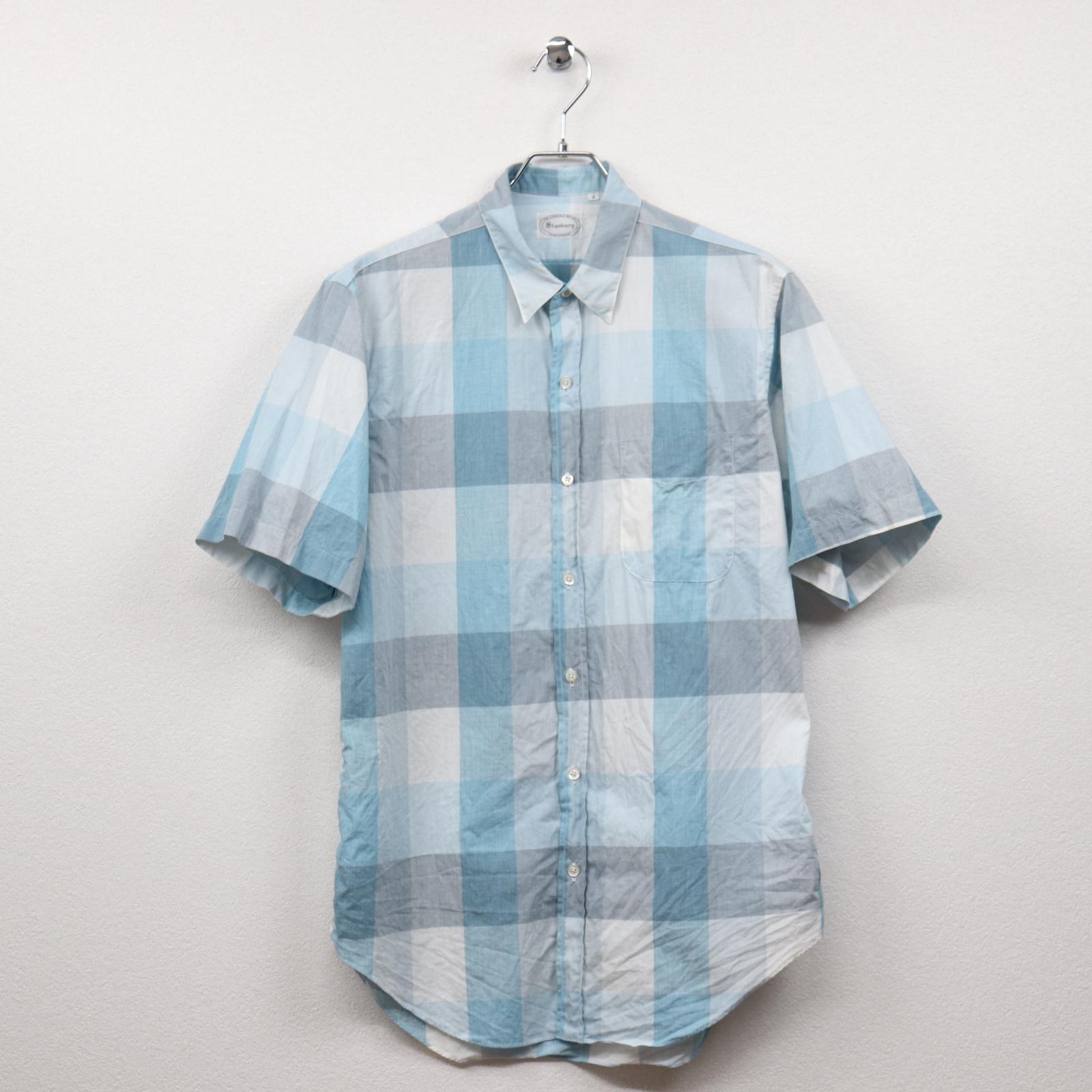 スタンバリー(Stanbury)チェック柄半袖レギュラーシャツ Lサイズ コンディションB ブルー系 価格1,980(税込)