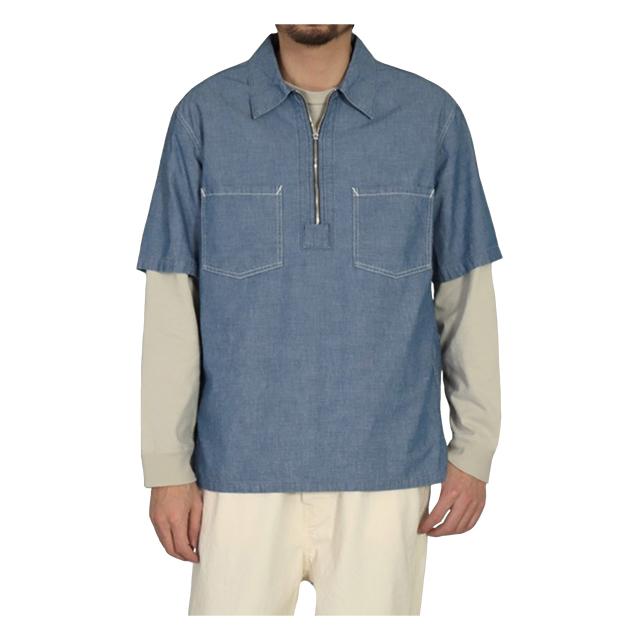 シャンブレーショートスリーブジップシャツ ホワイト OMNIGOD 40%OFF ¥15,400(税込)→¥9,240(税込)