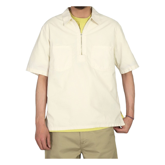 生成シャンブレーショートスリーブジップシャツ アイボリー OMNIGOD 40%OFF ¥15,400(税込)→¥9,240(税込)