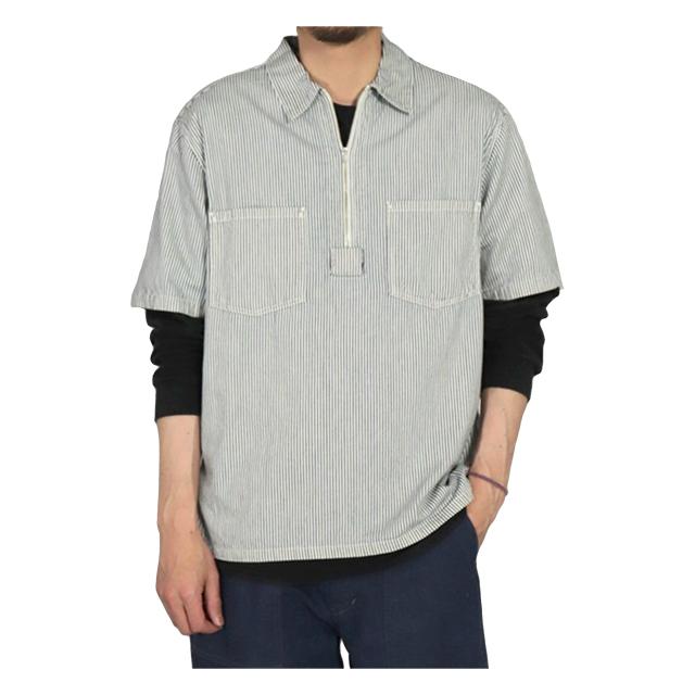 ヒッコリーデニムショートスリーブジップシャツ ブルー系 OMNIGOD 40%OFF ¥16,500(税込)→¥9,900(税込)