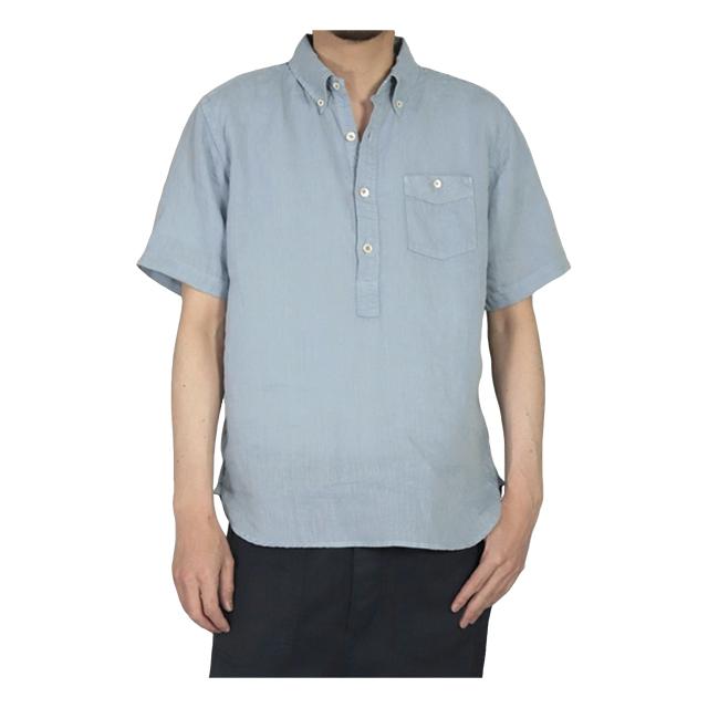 リネンキャンバス ショートスリーブプルオーバーBDシャツ ブルー OMNIGOD 40%OFF ¥19,250(税込)→¥11,550(税込)